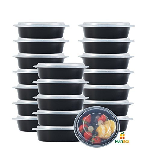 (NutriBox [20 Value Pack] Meal Prep containers 1 compartment 24 OZ Round Meal Prep salad bowl Meal Prep lunch box - BPA Free Reusable Lunch Bento Box - Microwave, Dishwasher and Freezer Safe)