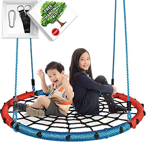 KHOMO GEAR Super Hero Swing & Spin Set Complete Includes Tree Hanging Kit, Red and Blue, Round 40-Inch Diameter ()