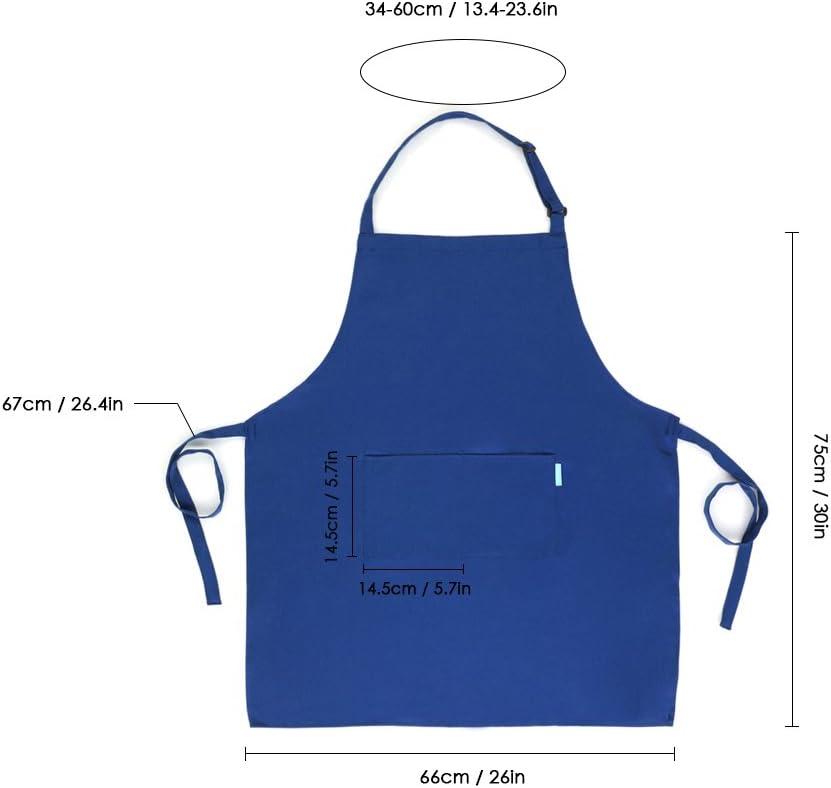 esonmus Delantal de Cocina de Poli/éster con Tira de Cuello Ajustable y 2 Bolsillos para Hornear Jardiner/ía Restaurante Barbacoa para Hombres y Mujeres Azul