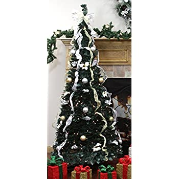 northlight 31105056 pre lit pop up decorated silvergold artificial christmas tree with clear
