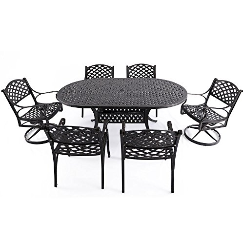 "Garden 4 Seater (Nuu Garden 7 Piece Outdoor Solid Cast Aluminum Patio Conversation Dining Set with 72"" x 42"" Oval Long Table, 4 Arm Chairs and 2 Swivel Rocking Chairs, Antique Bronze (no Cushions) SCD002-03)"