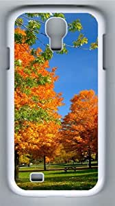 Autumn in the park Custom Samsung Galaxy I9500/Samsung Galaxy S4 Case Cover Polycarbonate White
