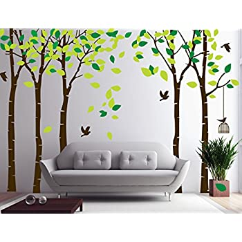 Amazoncom CaseFan 5 Trees Wall Decal Forest Mural Paper for