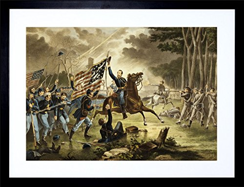 9x7 '' General Kearney Union Civil WAR Battle Chantilly Framed Art Print F97X779 (Best Union Generals Civil War)