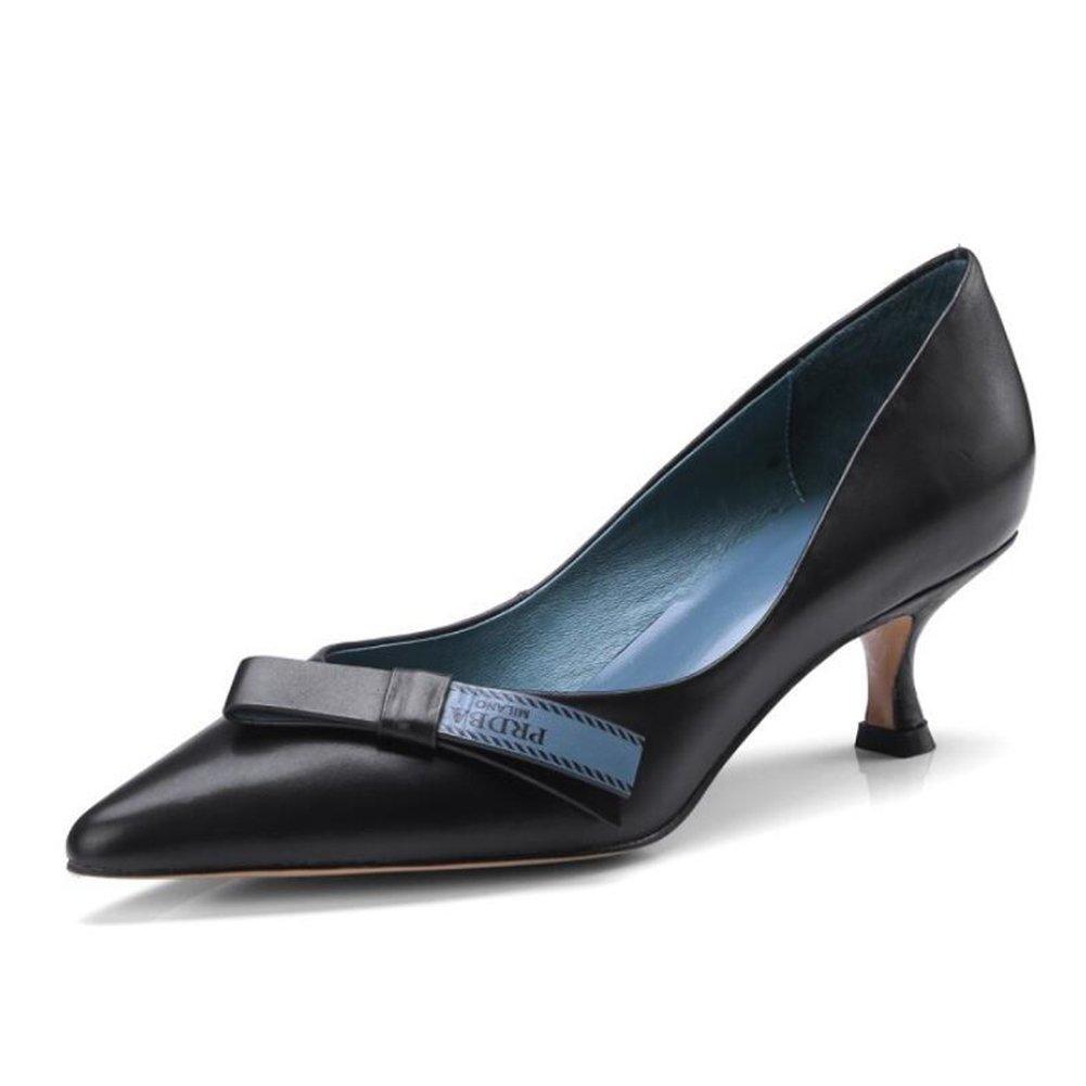 Schwarz Frauen High Heels Damen Leder Low-Heels Spring Fashion Stiletto Heels Vier Jahreszeiten Arbeit Schuhe Pumps Pumps