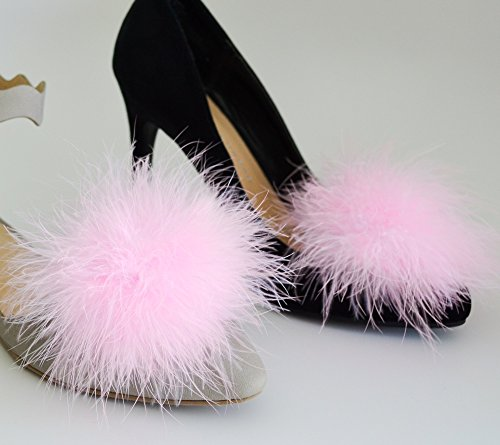 Pink Feather Shoes (Detachable PINK Feather Pom Pom Shoe Clips Set of)