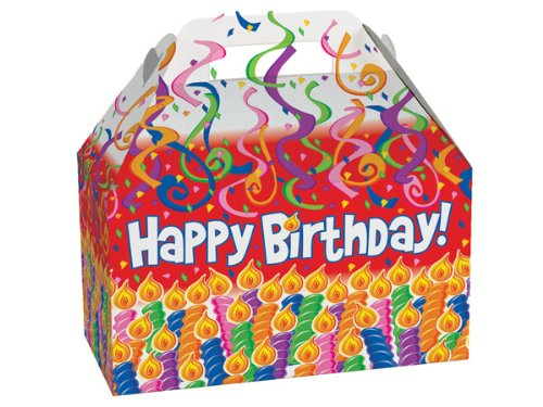 Pack of 6, Birthday Candles Gable Boxes 8.5 x 4.75 x 5.5'' for Unique Presentations & Food Packaging by Generic