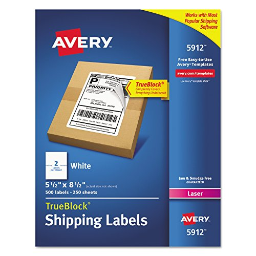 ss Labels, Laser Printers, 500 Labels, Half Sheet Labels, Permanent Adhesive, TrueBlock (5912) - 05912 ()