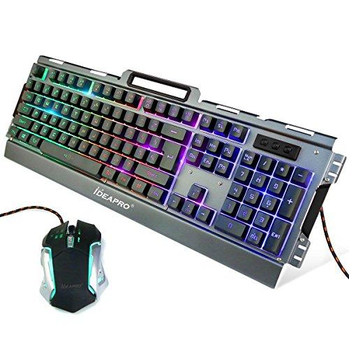 IDEAPRO gaming 키보드 마우스 세트 방수 기능 첨부 와 3 색가조절 호흡 모드LED백 라이트 부착 게임 키보드 표준 영어 배열104키