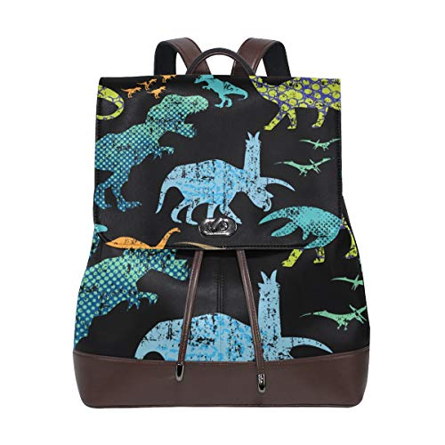DAOPUDA Leather Backpack Seamless Pattern Chinoiserie Style Peonies Dragonfly Lightweight Travel Bag Hiking Knapsack Student School Bookbag Daypack for men women