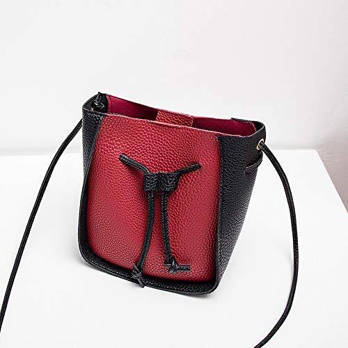Fibbia Una da tonda a Telefono Qingxia Rosso tracolla Zaino borsa Borsa zi piccolo Colore tracolla a contrasto donna wq4IIP