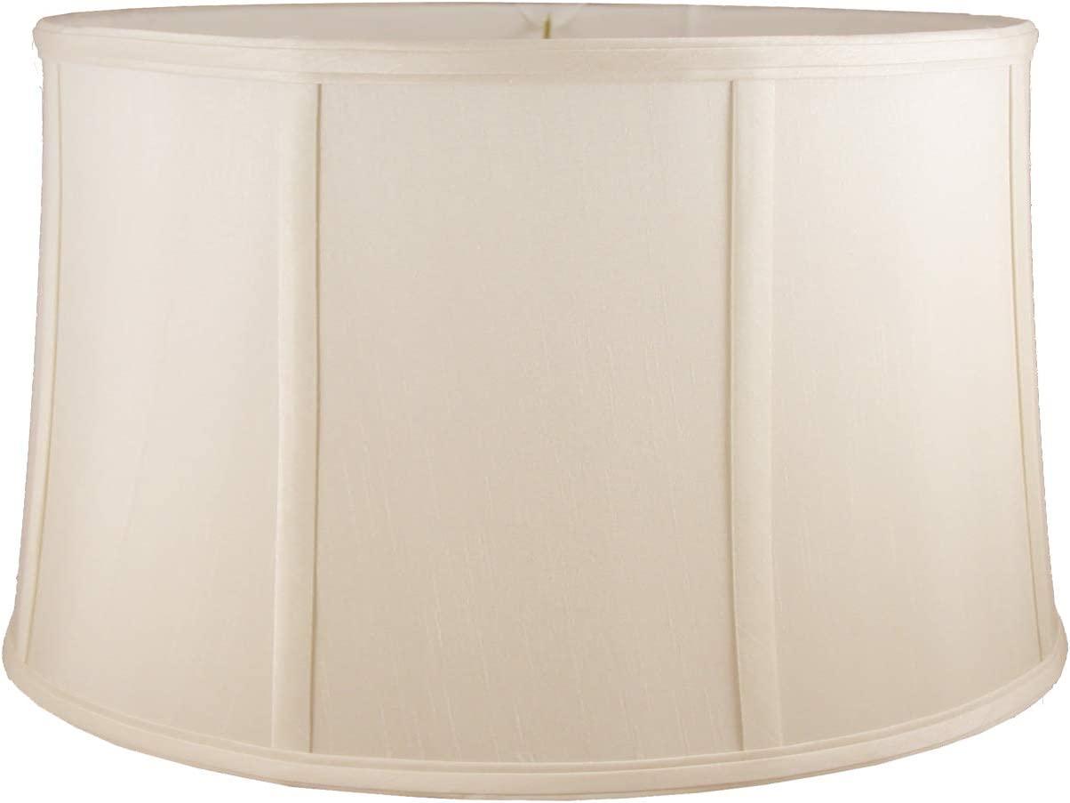 American Pride 17 x 18 x 9.5 Round Soft Shantung Tailored Lampshade, Light Beige