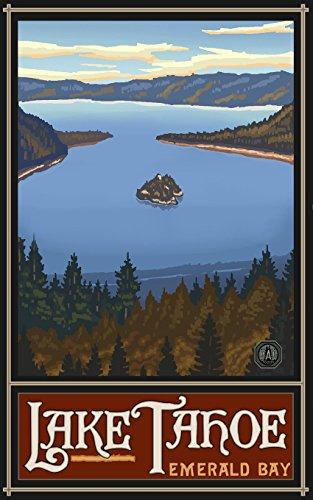 Lake Tahoe Emerald Bay Travel Art Poster by Artist Paul A. Lanquist ( 9