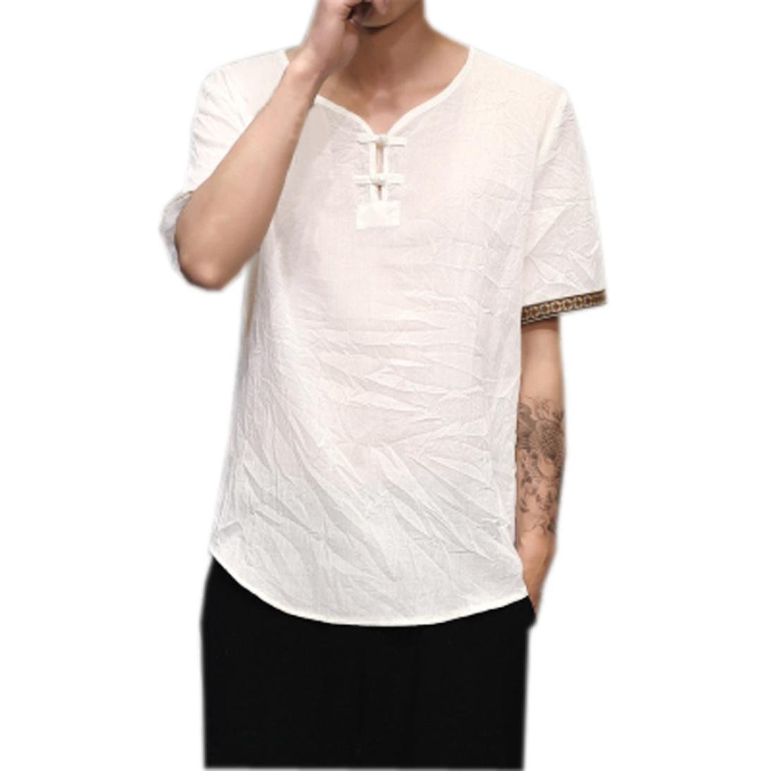 Fossen Camisas de Lino Tradicionales para Hombres Blusa Suelta con Cuello en V de Manga Corta Casual Camisetas Suelta: Amazon.es: Ropa y accesorios
