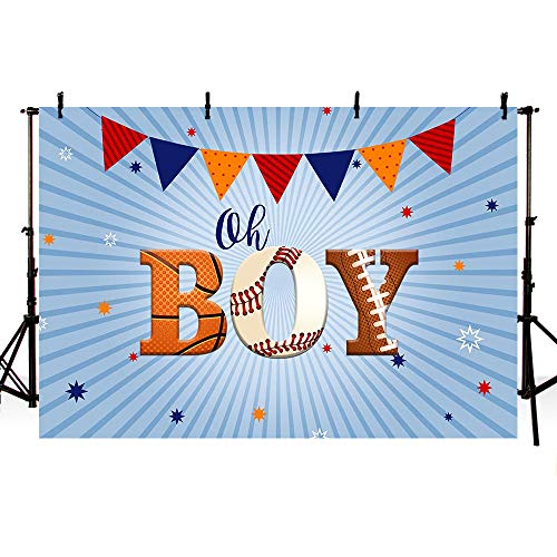 MEHOFOTO Sports Baby Shower Photography Studio Backgrounds Basketball Baseball Soccer Oh Boy Party Decorations Banner Photo Backdrops for Candy Table Supplies 7x5ft ()