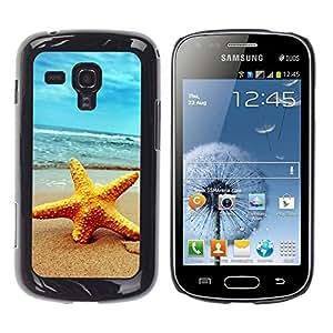 TopCaseStore / la caja del caucho duro de la cubierta de protección de la piel - Beach Starfish - Samsung Galaxy S Duos S7562