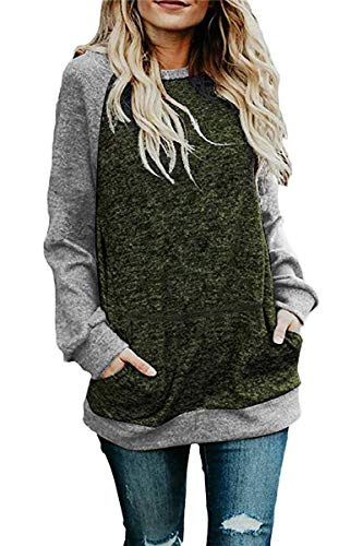 Crewneck Sleeve Raglan Long (CHYRII Womens Raglan Long Sleeve Casual Crew Neck Sweatshirt Loose T Shirt Blouse Tops Green + Grey S)
