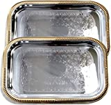 Maro Megastore 18.2'' x 12.3'' Oblong Rectangular Trim Floral Pattern Engraved Catering Chrome Plated Serving Plate Mirror Deco Tray Platter Tableware Multi-Purpose (Silver Gold-Medium) T156MGS-2PK