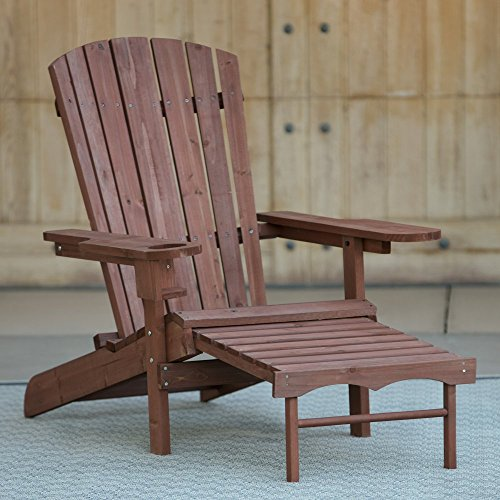 Adirondack Deck Chair With Pull Out Ottoman Wooden Furniture   For All  Weather On Patio