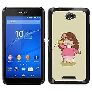 Caucho caso de Shell duro de la cubierta de accesorios de protección BY RAYDREAMMM - Sony Xperia E4 - Jugar Madre Mamá minimalista Chica