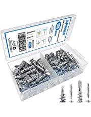 ISPINNER 100pcs Zinc Self-Drilling Drywall/Hollow-Wall Anchors Kit with Screws (2 Sizes)