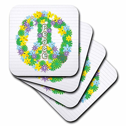 3dRose Anne Marie Baugh Signs - Green, Purple, Yellow Flowered Peace Sign - set of 4 Coasters - Soft (cst_101288_1)