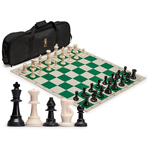 Tournament Staunton Chessmen Set - Yellow Mountain Imports Staunton Regulation Tournament Chess Set with 2 Extra Queens, Weighted Chessmen, Bag, and Roll-Up Vinyl Board with Green & Natural Squares