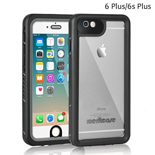 iPhone 6s Plus Waterproof Case, Meritcase IP68 5.5 inch TPU iPhone 6/ 6s Plus Full Body Shockproof Snowproof Dirtproof Sandproof Case with Screen Protector for Swimming Snorkeling (5.5 inch,Black) (6 Light Canoe)