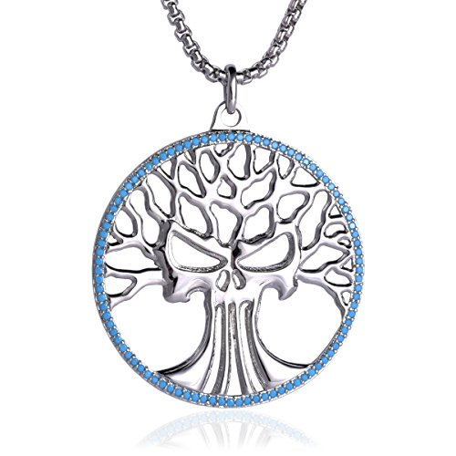 Karseer Man and Nature Celtic Tree Of Life Medallion Wisdom Prophecy Skull Pendant Necklace for Women and Men, Box Chain 24