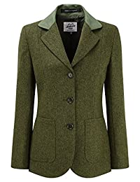 Womens Tweed Blazer With Contrast Collar Olive