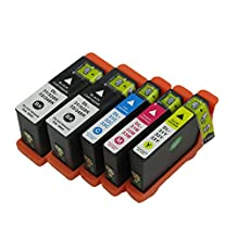 Colour-store Compatible 5 Pack Dell 31XL (2 Black Cyan Magenta Yellow) Ink Cartridge for Dell V525w V725w (Dell Series 33 Ink)