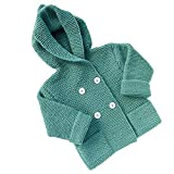 WM & MW Toddler Hoodie Cardigan, Baby Girls Boys Button Knit Open Front Hooded Sweater Coat Woolen Outwear Tops Outfit For 2-5 Years Old (5T, Green)