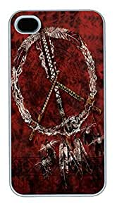 IPhone 4S Cases Red Pipes Native American Polycarbonate Hard Case Back Cover for iPhone 4/4S White