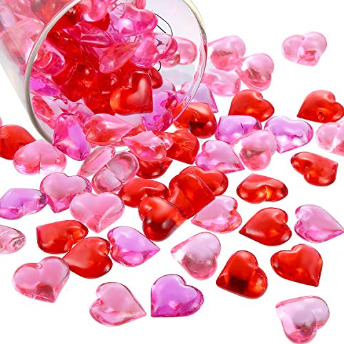 Bememo Acrylic Heart 1.1 LB Plastic Gems Table Scatter Decoration Multi-Styles Decorations Vase Filler (Red Pink Rose, 220)