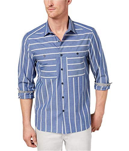 Kenneth Cole Mens Wide Stripe Button Up Shirt, Blue, Small
