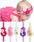 Qandsweet Baby Headbands with Zircon Crystal Flower Girl Hairband and Rose Buds Bow for Baby Shower