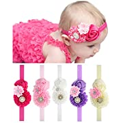 QandSweet Baby Girl Headbands With Zircon Crystal Hair Flower For Baby Shower
