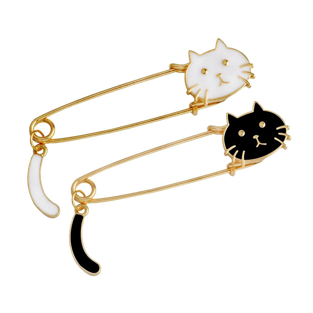 Fenteer 2pcs Fashion White and Black Enamel Cat Brooch Pin Large Safety Pin Men Woman Jewelry