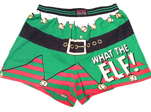 Secret Santa Mens Small Christmas Boxers What The Elf (Santa Secret Elf)