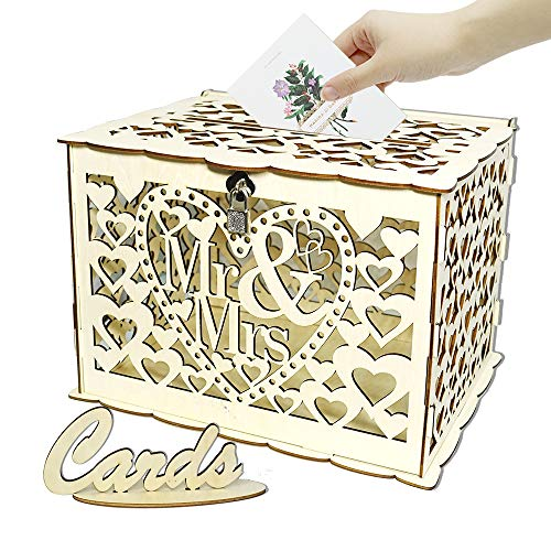 Angela&Alex Wedding Card Box, DIY Gift Card Boxes with Lock and Card Sign Wooden Hollow Wedding Money Box Holder for Reception Weddings Baby Showers Birthdays Graduations Party Decorations -
