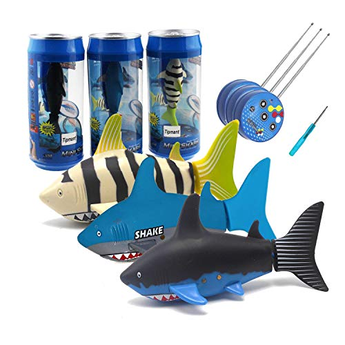 Remote Control Fish (Tipmant Mini RC Fish Shark Radio Remote Control Boat Ships & Submarine for Fish Tank, Swimming Pool, Bathtub Kids Electric Animal Toy - 3)