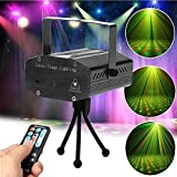 Lilyminiso Remote Control Mini R&G Twinkling Laser LED Stage Lighting Projector Voice-activated Spotlight Equipment with Stroboflash for DJ Disco Club Party Bar Show Christmas (black)