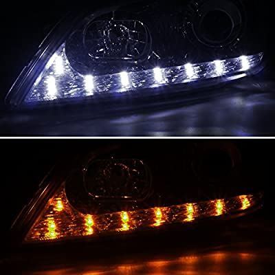 Spec-D Tuning 2LHP-IS30001-TM Lexus IS300 Chrome Projector Headlights+LED DRL+Amber LED Signal Lamps: Automotive