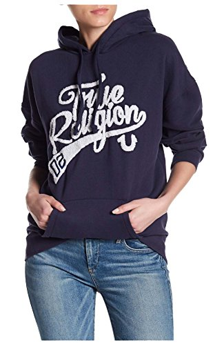 True Religion Women's Athletic Boyfriend Hoodie in True Navy - True Women Hoody Religion