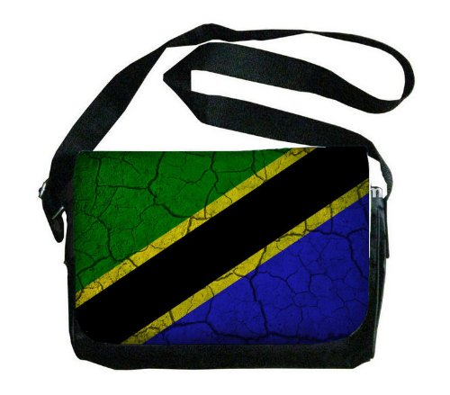 タンザニアフラグCrackledデザインメッセンジャーバッグ B00FMFO086