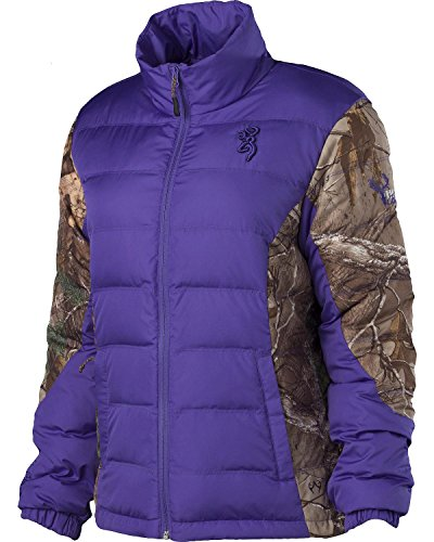 Browning Women's Hell's Belles Plum And Camo Blended Down Jacket Plum Large