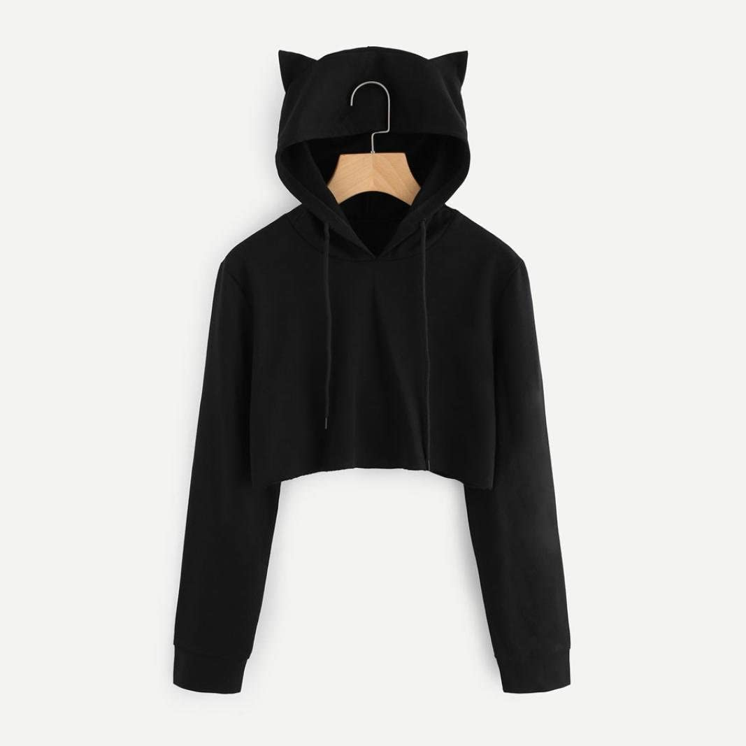 Womens Long Sleeve Crop Top Hoodies Funny Chickens Cat Ear Lumbar Hoodie Pullover Sweater