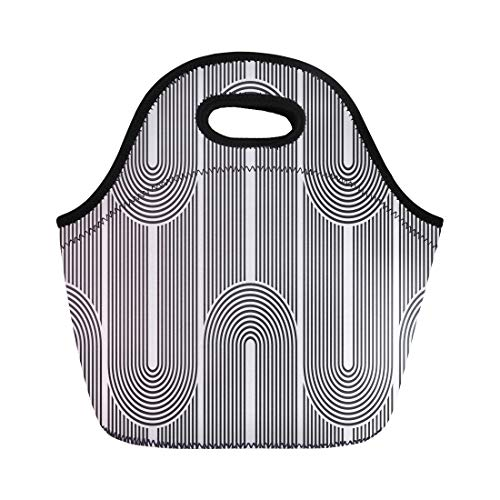 26a3ba2495f4 Semtomn Lunch Bags Black Abstract Geometric Pattern Simple Monochromatic  Linear Retro Graphic Neoprene Lunch Bag Lunchbox Tote Bag Portable Picnic  Bag ...