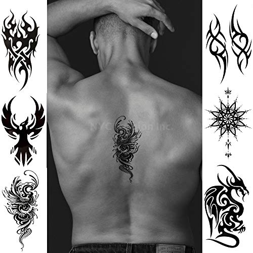 6 Cool Temporary Tattoos Assorted Styles and Body Art Designs - Fake Tattoos for Adults and Teens Tattoos for Arms Legs Shoulder or -