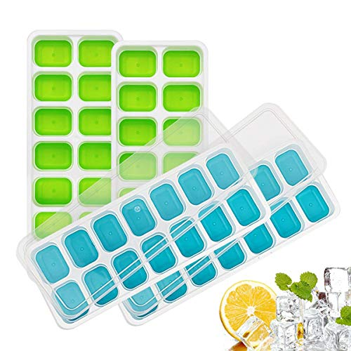 (Ice Cube Trays, Easy-Release Silicone and Flexible 56-Ice Trays with Spill-Resistant Removable Lid, LFGB Certified & BPA Free, Stackable)